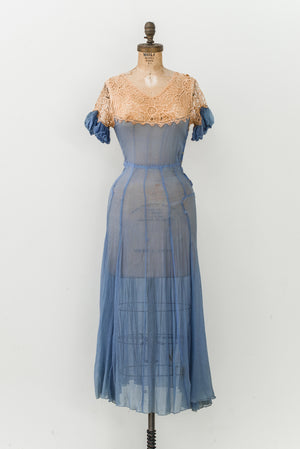 1930s Silk Chiffon and Lace Cutout Dress - XS/S