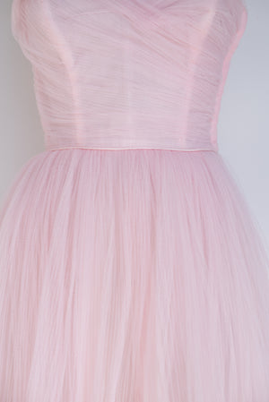 1950s Blush Pink Tulle Dress - S