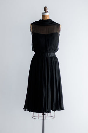 1950s Silk Chiffon Dress - S