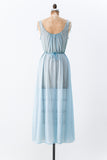 1950s Blue Pleated Nylon Slip Gown - S