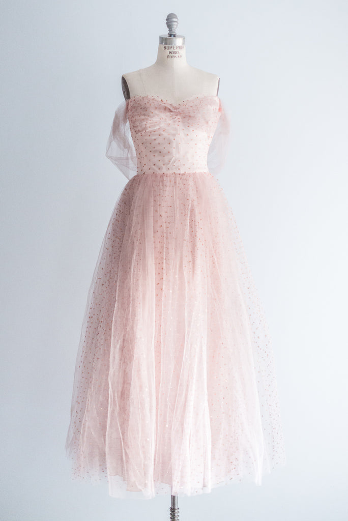 1950s Pink Tulle and Glitter Dotted Gown - S ...