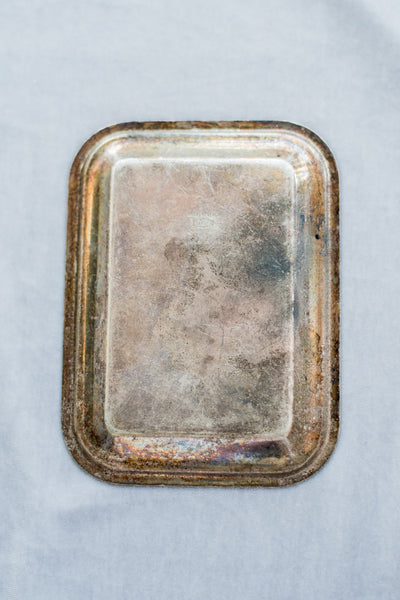 Vintage Rectangular Beveled Small Metal Tray