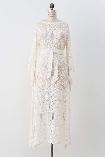 1970s Boho Crochet Angel Sleeves Dress - S/M