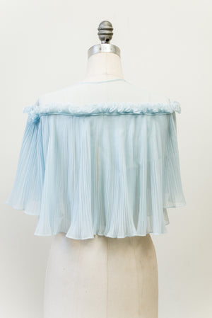 1950s Light Blue Pleated Jacket - One size