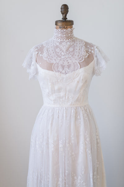 1970s Ivory High Neck Lace Dress - S