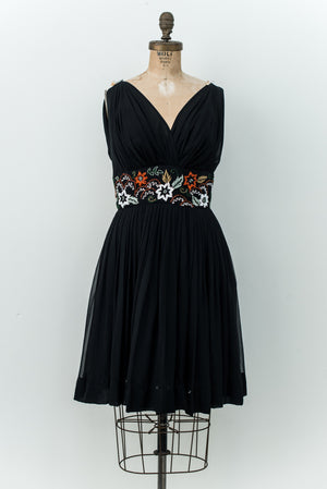 1950s Black Silk Chiffon Dress - S