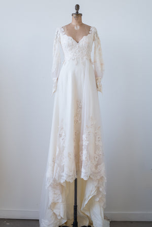 1970s Chiffon Lace Poet Sleeves Gown - S