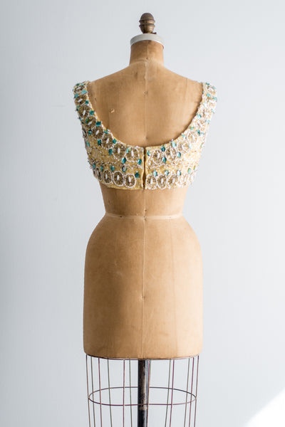 Vintage Yellow Beaded Crop Top - S