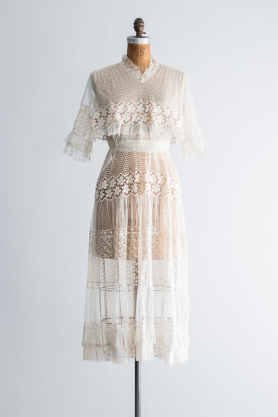 Edwardian Netted Lace Dress - S