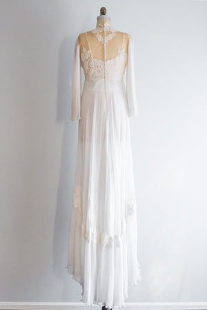 1970s Lace Chiffon and Accordion Pleated Gown -  S/M