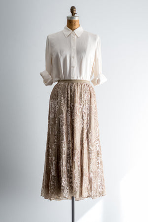 Vintage Voided Silk Chiffon Skirt - M/L