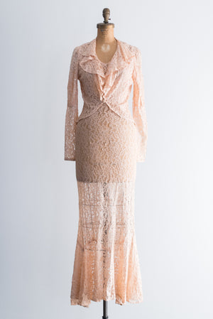 1930s Lace Gown and Jacket - XS