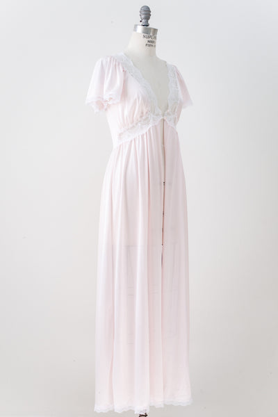 Vintage Lace and Nylon Dressing Gown - M