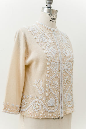 1950s Cashmere Ivory Beaded Cardigan - S/M