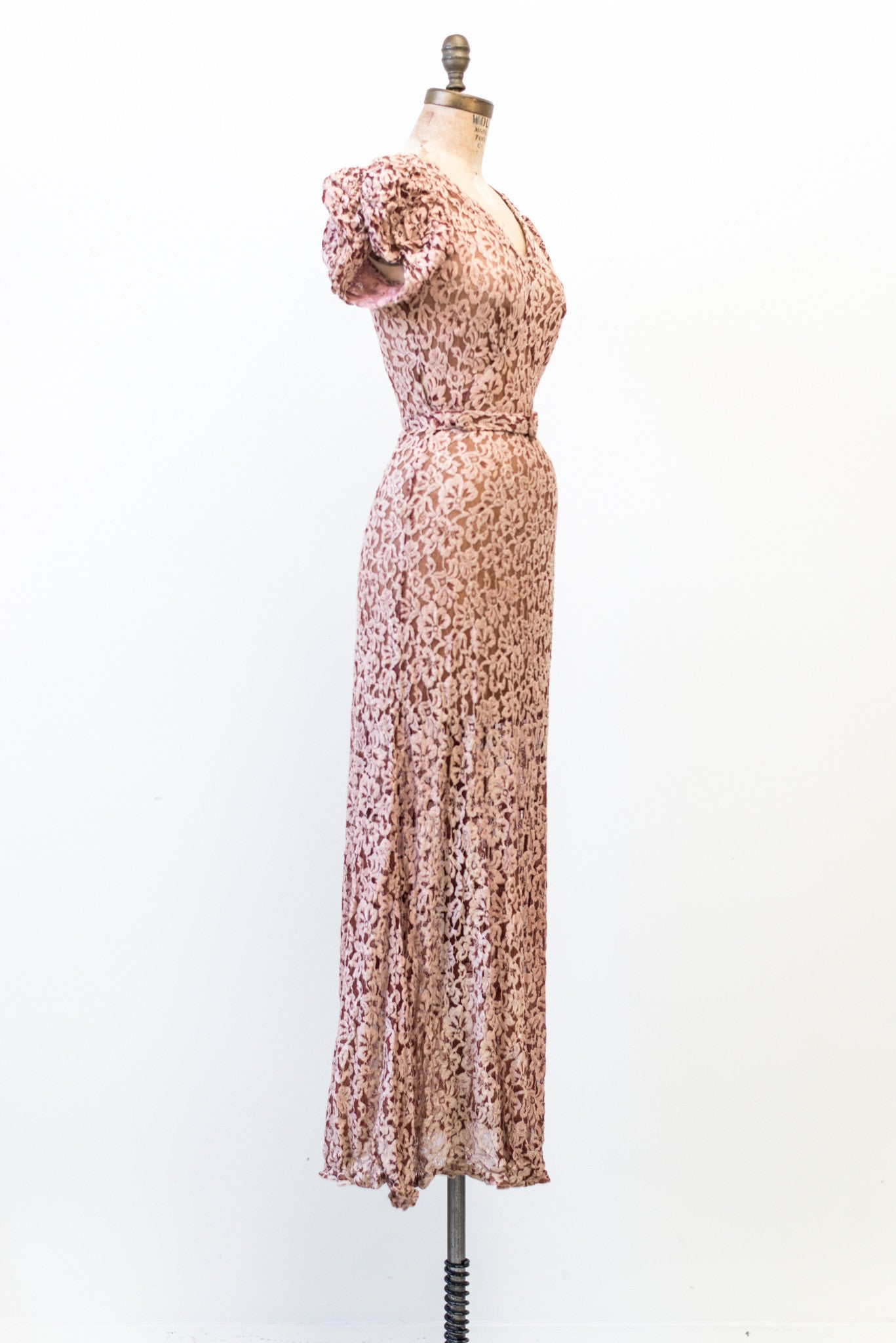 Direct Import Home Decor 1930s Burgundy Lace Gown Xs S G O S S A M E R