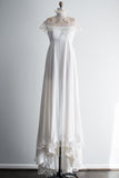 1960s Chiffon Lace High Neck Gown - S