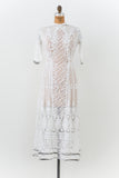 Edwardian Batiste Embroidered Dress with Lace Panel - S