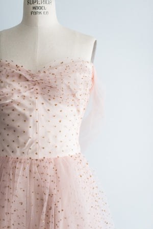 1950s Pink Tulle and Glitter Dotted Gown - S