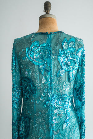 1980s Silk Beaded Blouse - M/L