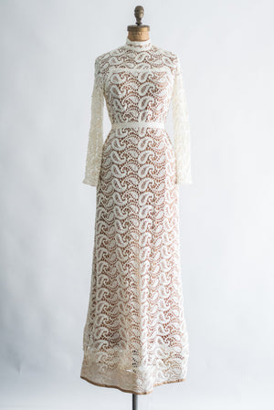 1970s Long Sleeves Crochet Gown - S/M