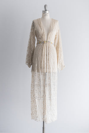 1920s Ecru Lace Dressing Robe - S/M
