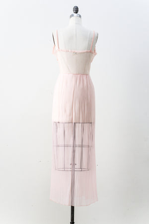 1950s Light Pink Nylon Slip - S