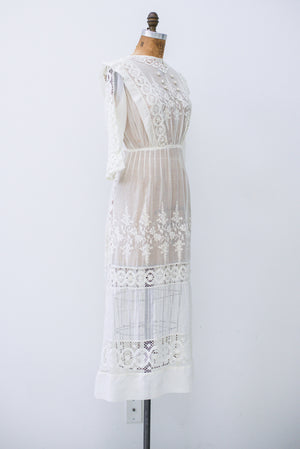 Antique Cotton Muslin Embroidered Dress - S