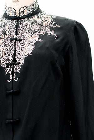 Vintage Embroidered Silk Blouse - S/M