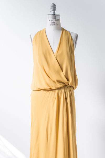 RENTAL Silk Marigold Plunging Gown - S/M