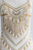 1980s Silk Gold and White Beaded Dress - S/M