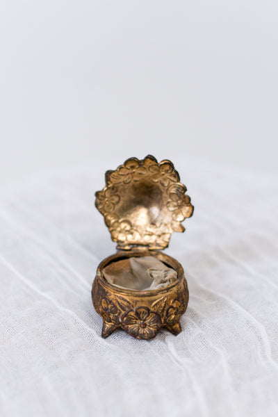 Antique Bas-Relief Gold Ring Box with Original Silk Lining.
