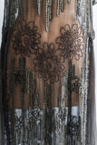 1920's Chocolate Silk Chiffon Beaded Flapper Dress - M