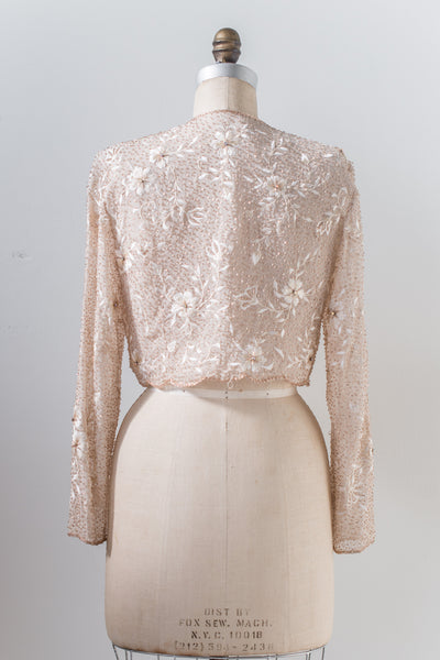 1980s Silk Beaded Embroidered Jacket/Bolero - S