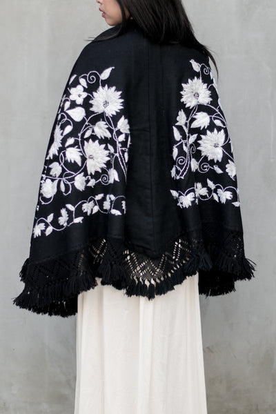 Vintage Embroidered Cape Poncho - One Size