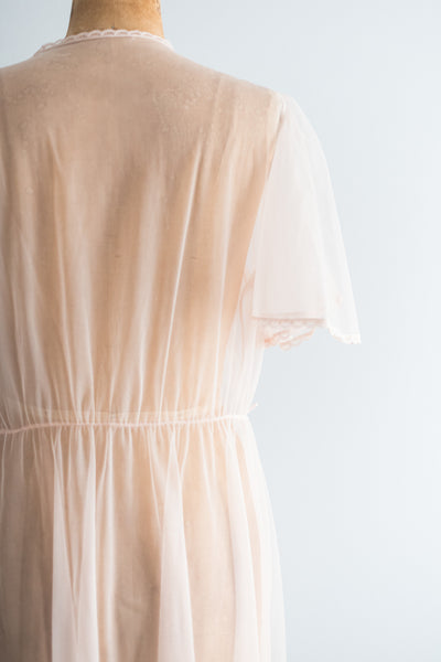 1960s Light Pink Nylon Chiffon Dressing Gown - M/L