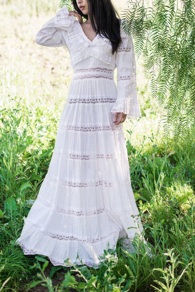 1970s Cotton and Lace Pintucked Gown - S/M