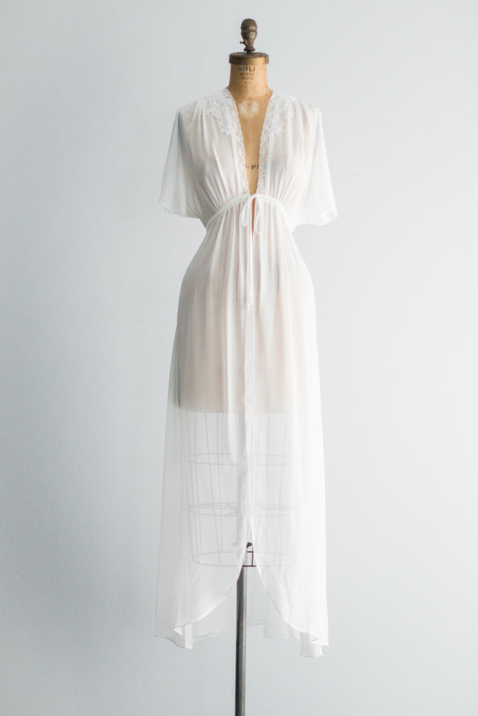 Chiffon Dressing Gown with Short Flutter Sleeves - S/M ...
