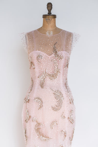 RENTAL Oscar De La Renta Rose Quartz and Gold Sequined Gown - S