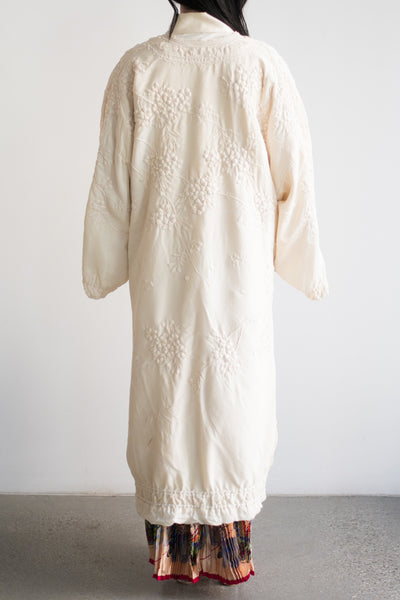 Antique Ivory Embroidered Robe with Cherry Blossom - One Size