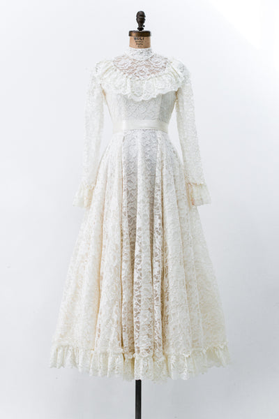 1970s Floral Lace Wedding Dress - XXS/XS