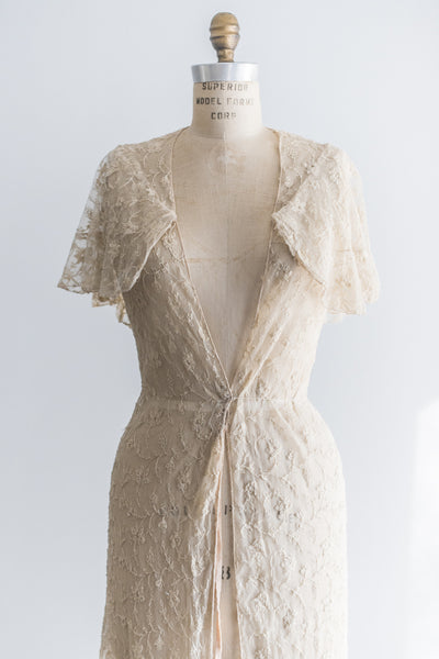 1930s Ecru Lace Needle Point Dressing Gown - S