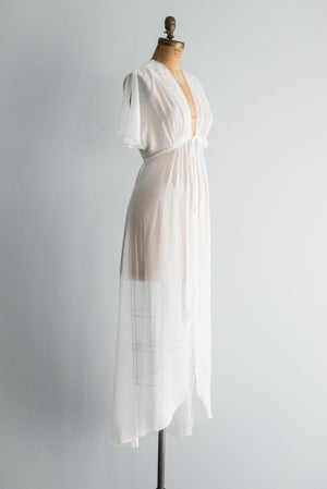 Chiffon Dressing Gown with Short Flutter Sleeves - S/M
