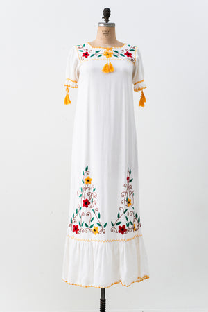 1970s Embroidered Cotton Gauze Dress - M