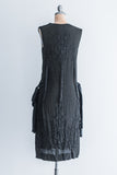 1920's Black Silk Crepe Beaded Dress - S/M