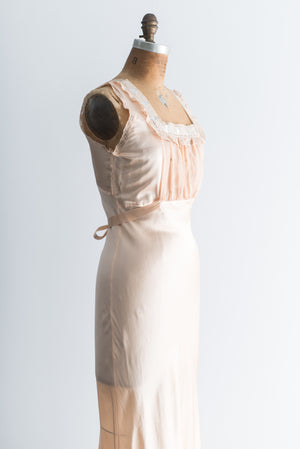 1930s Peach Pink Satin Bias Gown - S