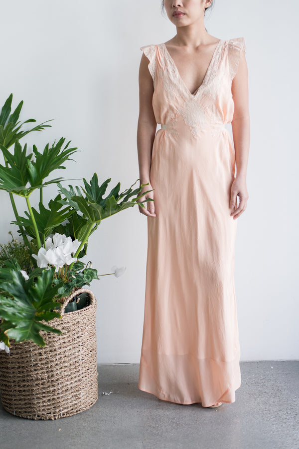 1930s Pink Silk Crepe Gown - M