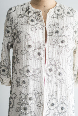 1960s Rayon Beaded Coat - M