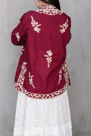 1970s Burgundy Embroidered Jacket - M