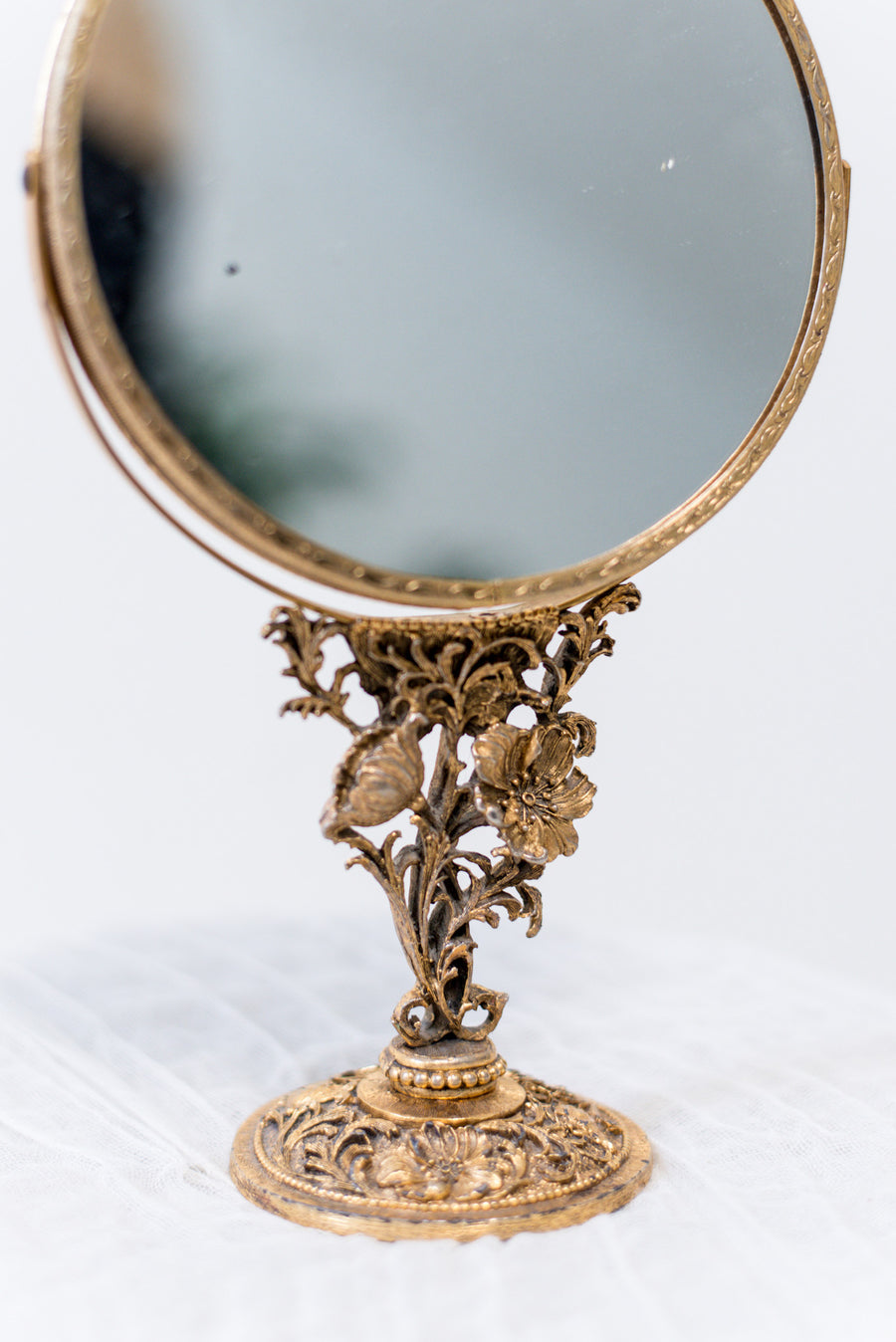 Vintage Brass Small Vanity Mirror