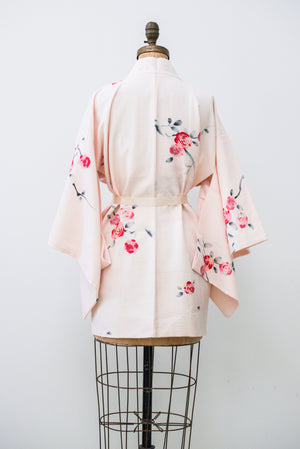 Vintage Pink Silk Short Kimono with Plum Blossoms - One Size